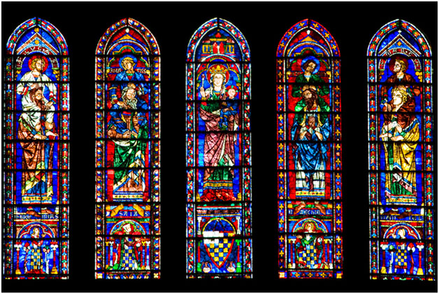 The South Transept lancet windows, restoration financed by AFC